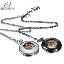 Antique Mechanical Pocket Fob Watch Men Silver Black 2pcs Set Fashion Vintage Automatic Watches Clock With