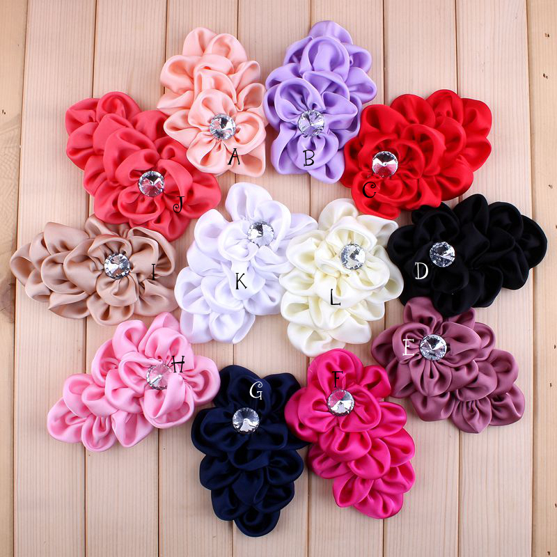 (50pcs/lot) 12 Colors Handmade Soft Lchthyosis Shape Fabric Headband Flower Artificial Wedding Decorative Flowers+Bling Buttons