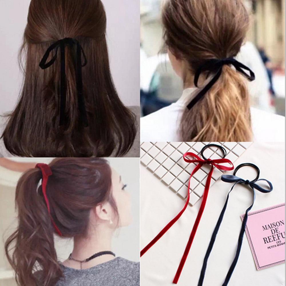 1PCS/Pack Simple Velvet Ribbon Bow Elastic Hair Band   Headwear   Girls' Long Tassel Hair Ties Headbands Women Hair Accessories