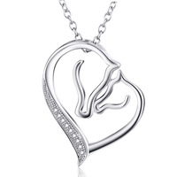 YFN 925 Sterling Silver Necklace Jewelry Collier Crystal Heart Horse Head Pendant Necklace Fashion Women Jewelry
