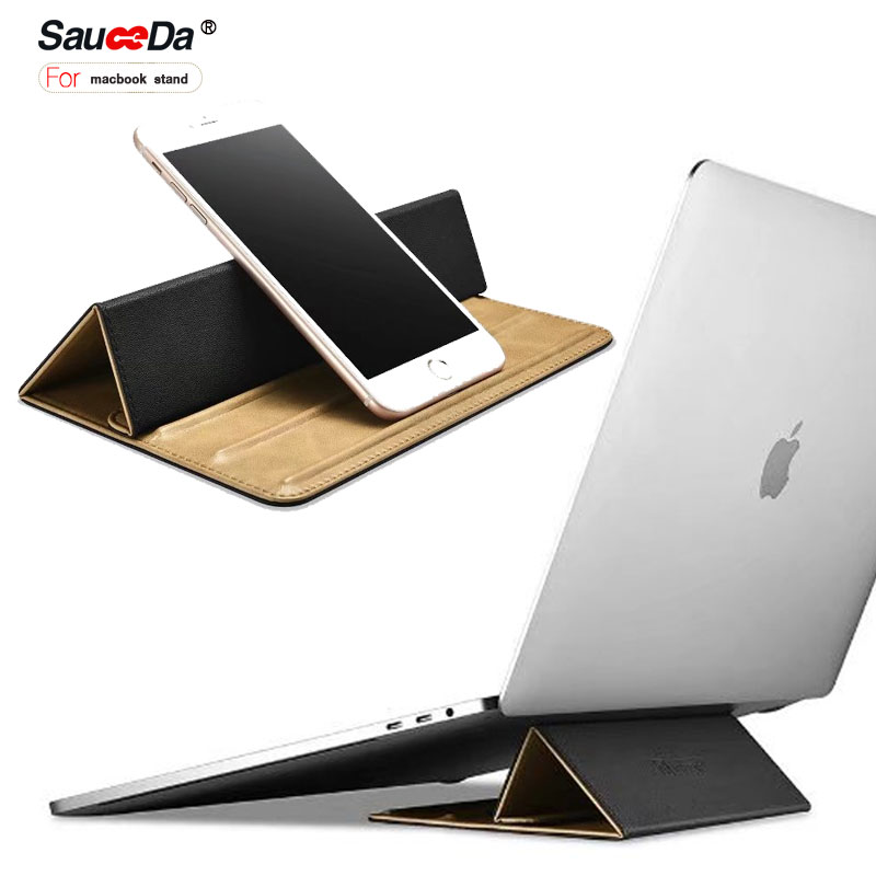 sauceda Universal laptop Desktop Stand For macbook pro 13 12 inch Mircofiber Real Leather Mouse Pad Holder Stand Mount 2 in 1