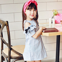 New 2017 Baby Stripe Dress Girls Bow Knot Sleeve Dress Toddler Children Summer 100 Cotton Healthy