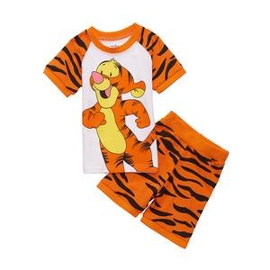 Dla dzieci dla dzieci Cartoon piżamy lato Anime tygrys z kreskówek bielizna nocna bawełna 2 sztuk T-shirt + zestaw szortów dla dzieci garnitur noc ubrania
