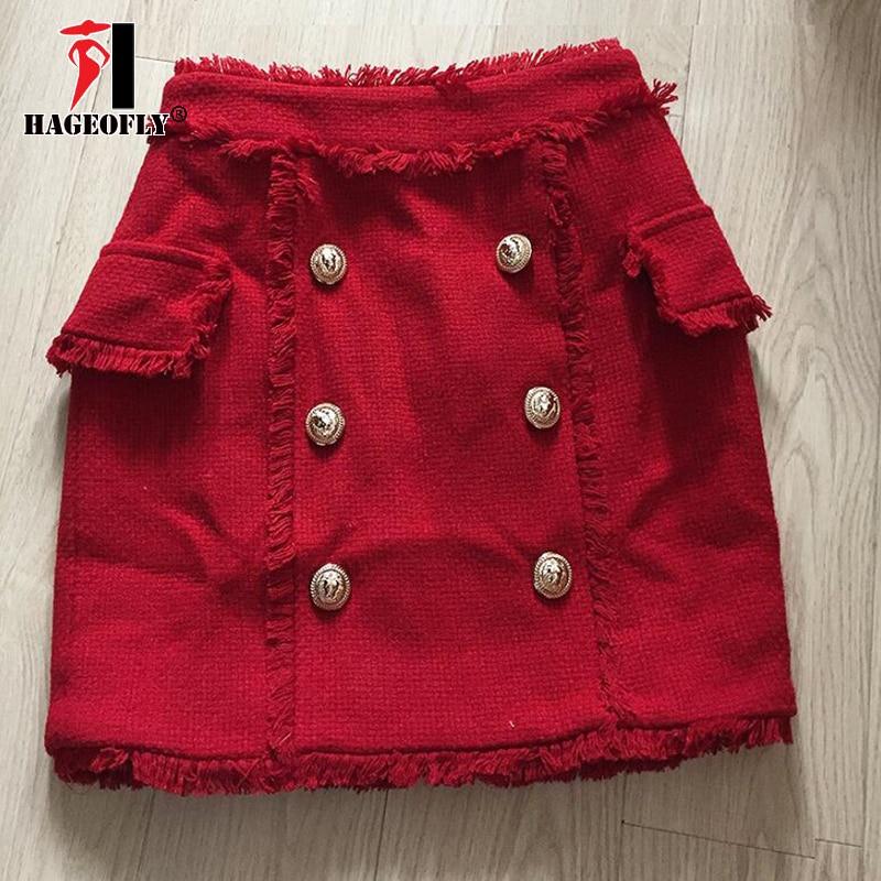 HAGEOFLY New Designer Short Red Skirt 2018 Autumn Winter Tassel Wool Skirt Double Lion Button Mini