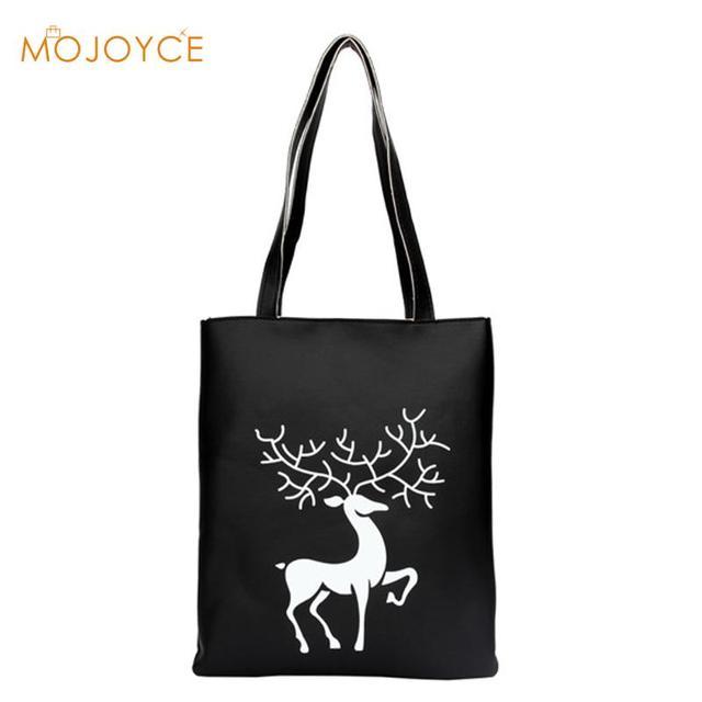 Cotton Pu Handbags Shoulder Bags Elk Deer Painting Ping Tote Reusable Foldable Women Carrying Bag Sac