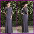 2014 Hot Sale barato tallas grandes gris de encaje lf2739 madre de la novia viste con medias mangas