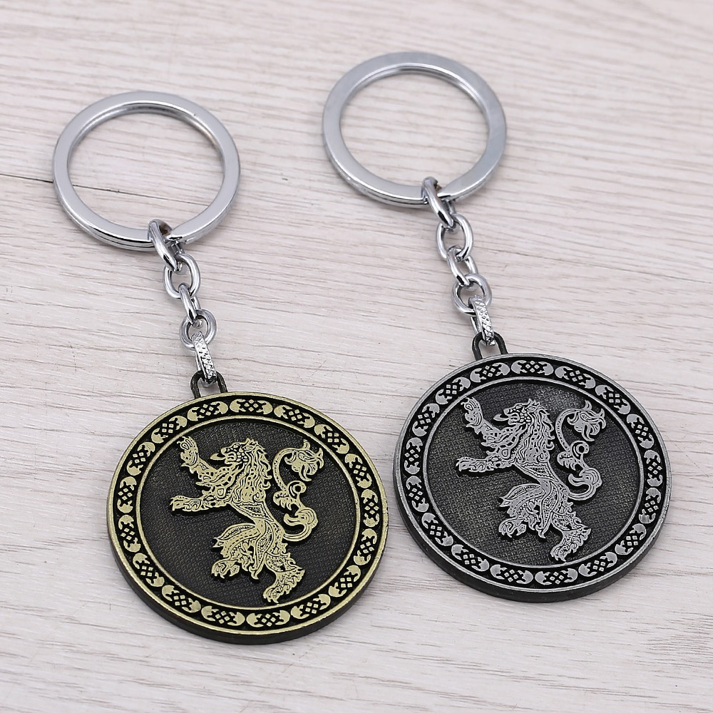 Game of Thrones Family crest Casterly Rock House Lannister Alloy Keychains For Fans Song Of Ice And Fire Key Chain porte clef image