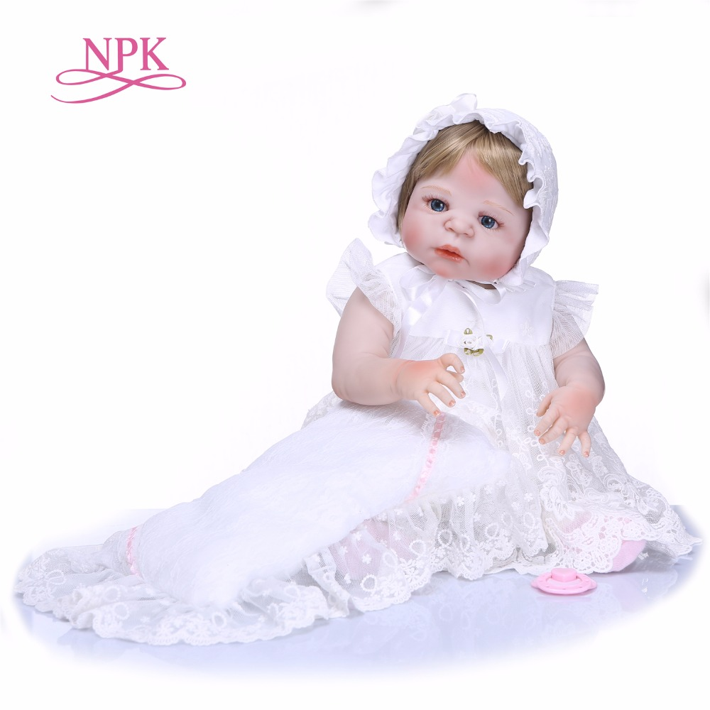 NPK 22inch 55cm full silicone reborn baby doll high quality toy newborn girl babies snow White