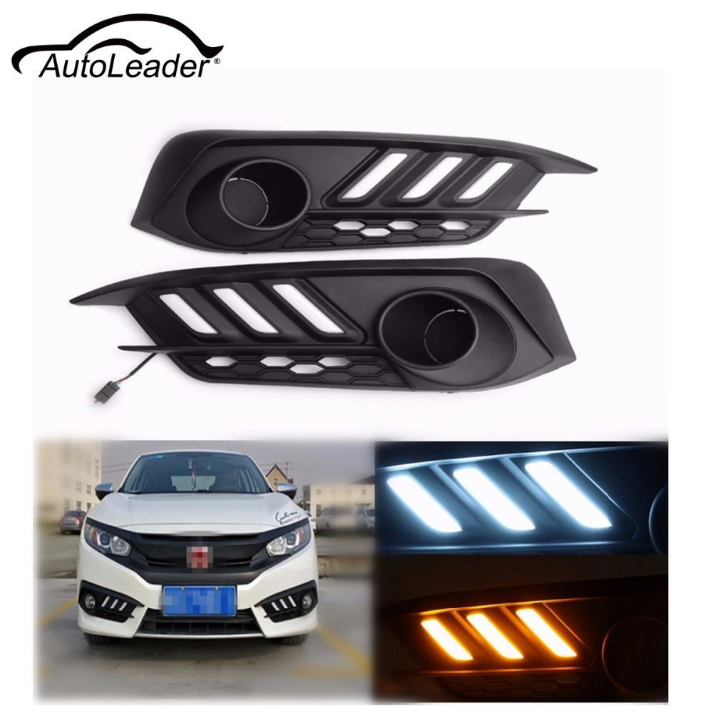 AutoLeader Car LED DRL Daytime Running Lights Fog Lamp Turn Signal Light For Honda/Civic 10th 2016 White+Yellow Waterproof high quality h3 led 20w led projector high power white car auto drl daytime running lights headlight fog lamp bulb dc12v