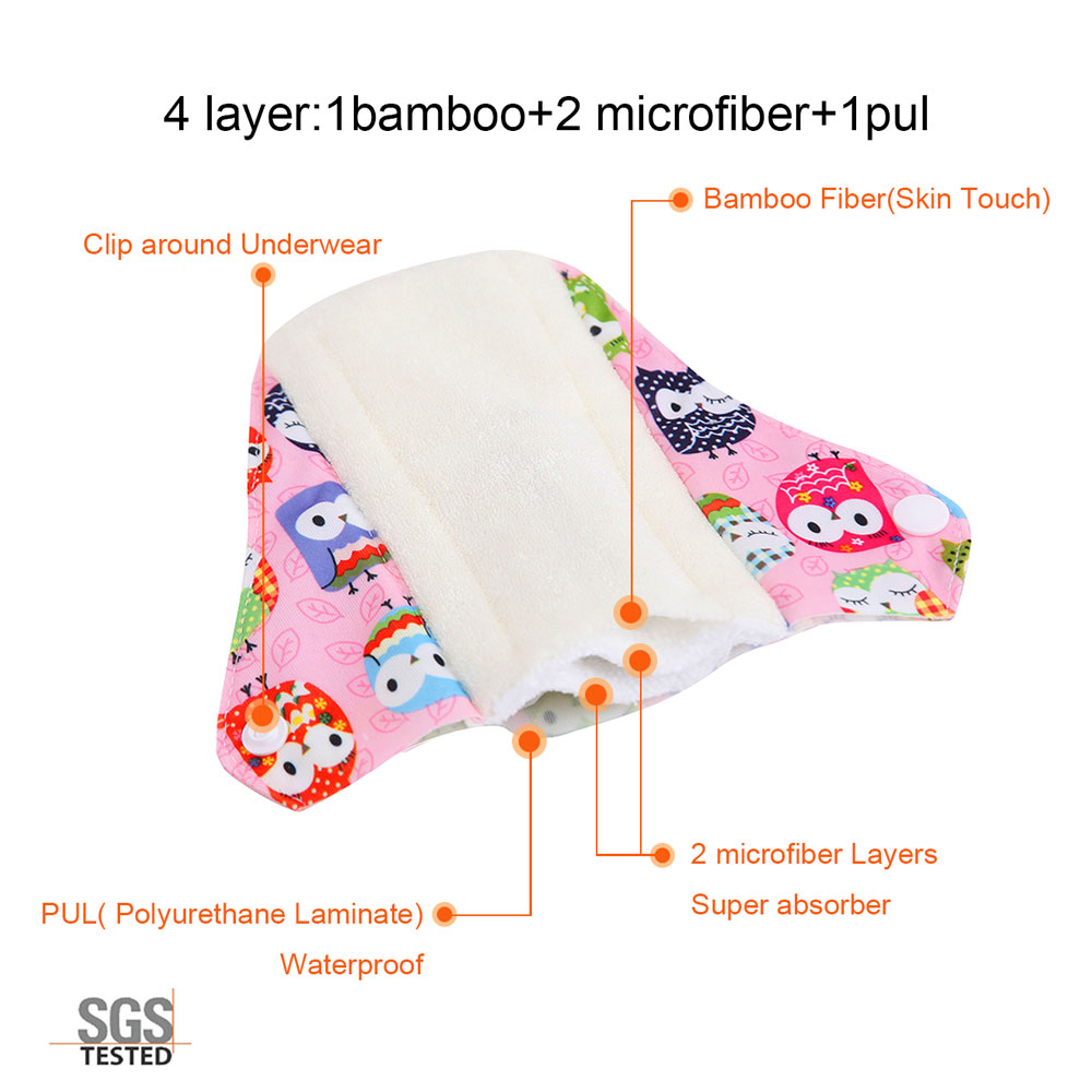Image 4 - OhBabyKa Washable Sanitary Pads Bamboo Cloth Pads Reusable Serviette Hygienique Cartoon Print Women Menstrual Pads Size S M L-in Feminine Hygiene Product from Beauty & Health