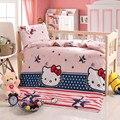 3 Pcs Baby Bettwäsche Set Baumwolle Krippe Sets Babybett Set Inklusive Quilt Abdeckung Kissenbezug matratze abdeckung Kinder Bett Blatt bettdecke