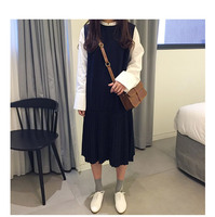 Preppy Style Faux Two Piece Dress Autumn And Winter Women One Piece Dress Medium Long Long