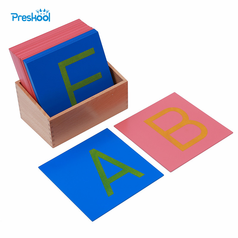 Bébé jouet Montessori papier de verre lettres majuscules impression avec boîte début préscolaire Brinquedos Juguetes