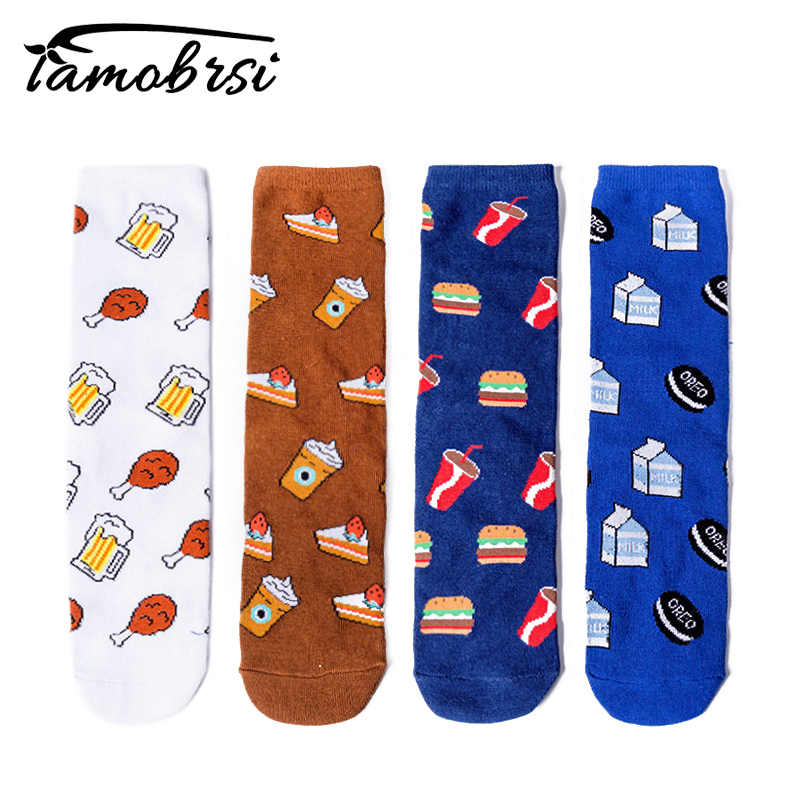 Summer Cartoon Fried Chicken Beer Tube Cool Funny   Socks   Women Men Cotton Sweat-absorbent Casual Straight Happy   Socks   Female