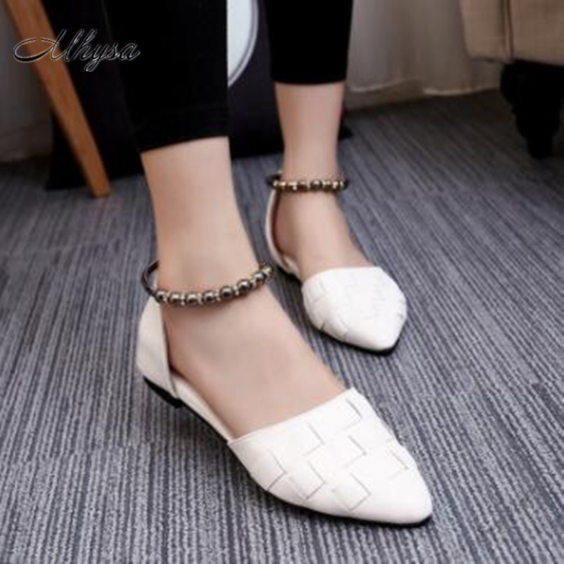 Mhysa flat shoes women pointed toe bag flats solid mental decoration buckle strap weave shoes  2018 new party shoes hot  S85 spring autumn solid metal decoration flats shoes fashion women flock pointed toe buckle strap ballet flats size 35 40 k257