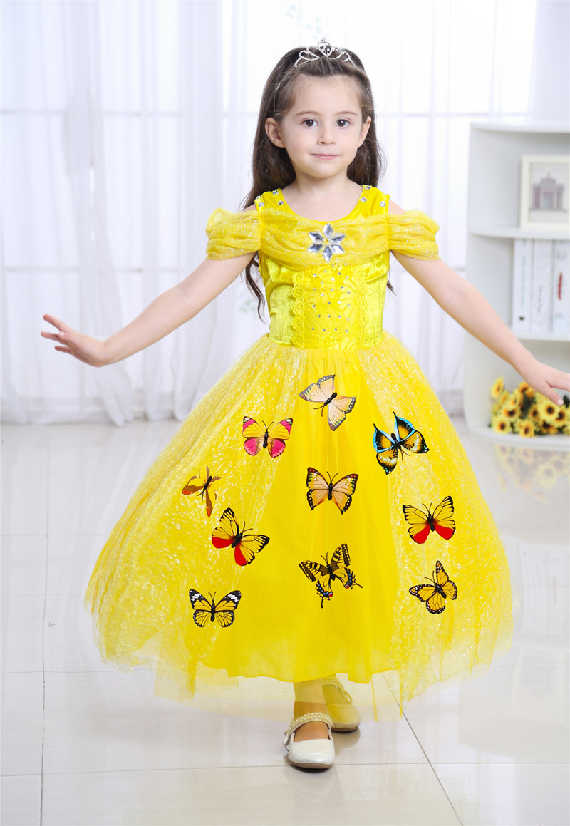 Girl Fairy Cinderella Princess Costume Fancy Girls Butterfly Rapunzel Kids Dress