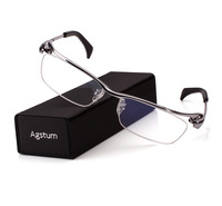 Agstum Pure Titanium Mens Half Rim Bussiness Eyeglasses Frames Optical Clear Lens Rx