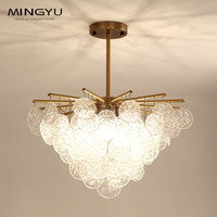 Luxury American Crystal Chandelier Dining Room Creative Golden Round Crystal Pendant Lamp LED Lighting