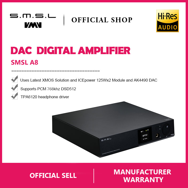 SMSL A8 125Wx2 AK4490 768khz DSD512 XMOS HIFI ICEpower Module Audio Digital Power Amplifier/DAC/Headphone Amp Latest Solution-in Amplifier from Consumer Electronics