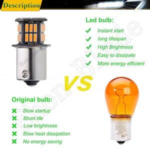 Image 5 - 2Pcs שעות היום אור S25 1156 BA15S P21W 3014 36 SMD אוטומטי LED ענבר כתום צהוב איתות הנורה מנורת רכב סטיילינג 12V DC