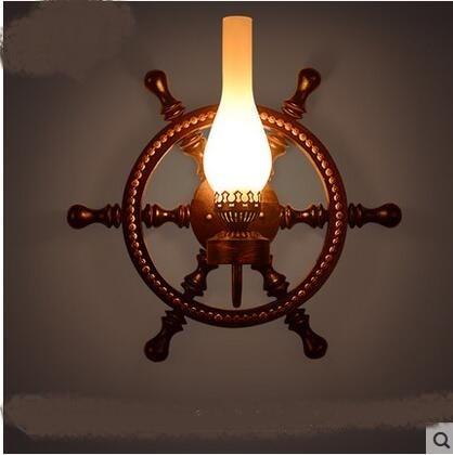 American Retro Pleasure Industrial Wind Solid Wood Rudder Creative Bar Barcoan Coffee Decorative Wall Lamp Loft creativ LU721190|decorative wall lamp|wall lamp|wall lamp loft - title=