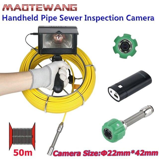 MAOTEWANG 4.3 אינץ 22mm כף יד תעשייתית צינור ביוב פיקוח וידאו מצלמה IP68 Waterproof 1000 TVL מצלמה עם 6W LED