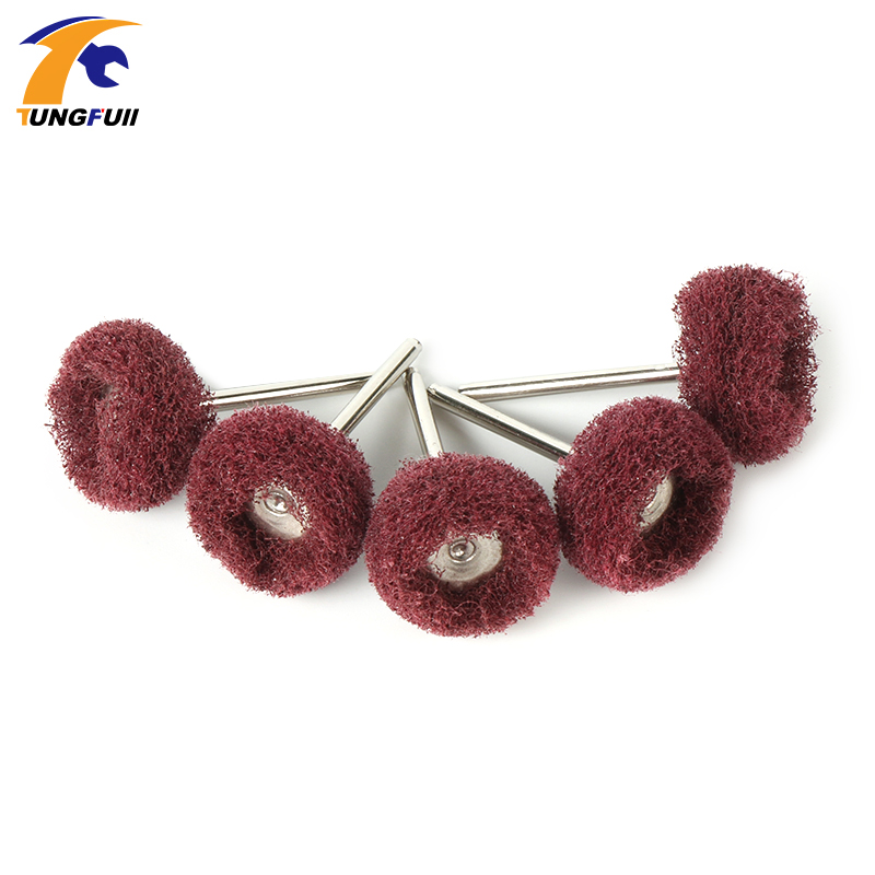цена Tungfull Power Tool Scouring Pad Grinding Head Dremel Accessories Nylon Fiber Polishing Wheel Grinder Brushes For Dremel Rotary