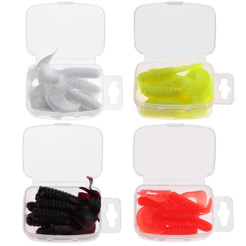 10Pcs 40mm Artificial Worm Fish Baits Curly Tail Grub Soft Fishing Lures Maggot Maggot Crankbait Bass Fishing Tackle peche