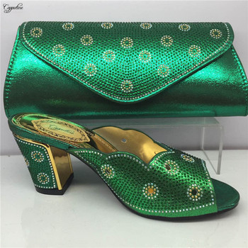 Popular party set green African high heel slip on shoes and purse handbag set for lady GY9, heel height 6 cm