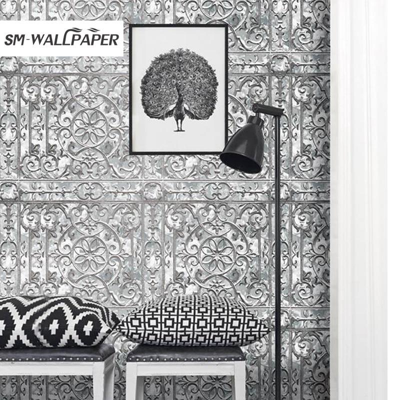 New Damask papel de parede 3d Texture Embossed Wallpaper Flowers PVC Vinyl Wall Stickers Home Background Decor