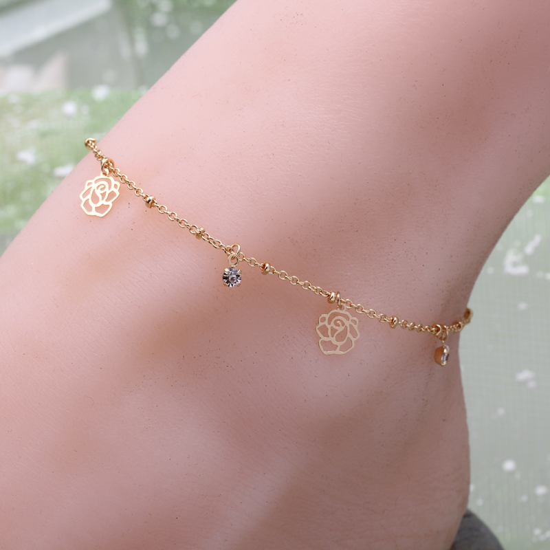 woman plating gold silver Anklets chain crystal hollow imitation pearls rose slice summer beach Anklets bracelet jewelry gift