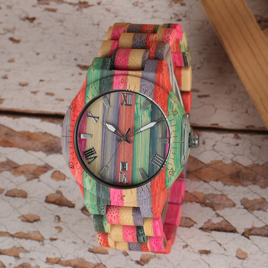 Unique Colorful Men Bamboo Watches Lovers Handmade Natural Wooden Bracelet Quartz Analog Luxury Wristwatches Ideal Gifts Items  (6) -
