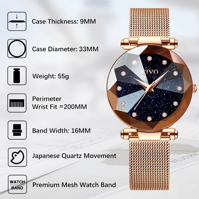 CIVO Fashion Luxury Ladies Crystal Watch Waterproof Rose Gold Steel Mesh Quartz Women Watches Top Brand Clock Relogio Feminino