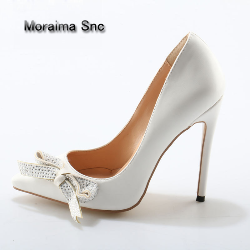 Moraima Snc Brand Crystal Drill Butterfly Knot Decor Pumps Shiny Leather Pointed Toe Ladies Stiletto Heel Bowtie Bridal ShoesMoraima Snc Brand Crystal Drill Butterfly Knot Decor Pumps Shiny Leather Pointed Toe Ladies Stiletto Heel Bowtie Bridal Shoes