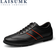 LAISUMK Brand Men Casual Shoes Genuine Leather Men Shoes Lace-up Breathable Soft Autumn Casual Flats Formal Shoes Plus Size 45 2018 men casual shoes brand men leather shoes sneakers men flats lace up genuine split leather shoes plus big size spring autumn