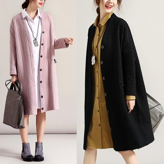 Nuevo invierno mujeres de gran tamaño sueltos cazadora vestido de maternidad de manga larga de las señoras capa ocasional de Gran tamaño