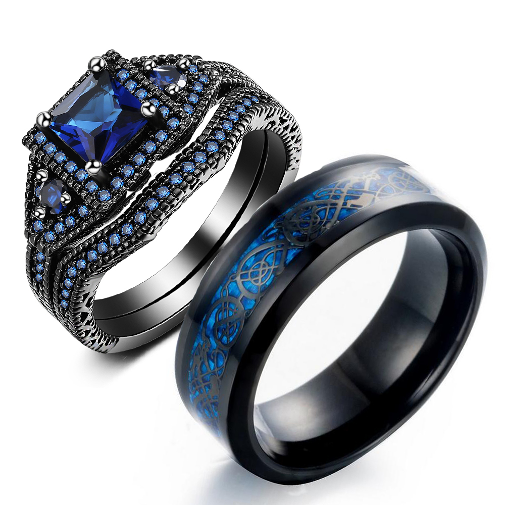 His and Hers Couple Rings Vintage Luxury Jewelry Black Gold Stainless Steel Circle Blue Princess 5A CZ Women Ring for Men Gift