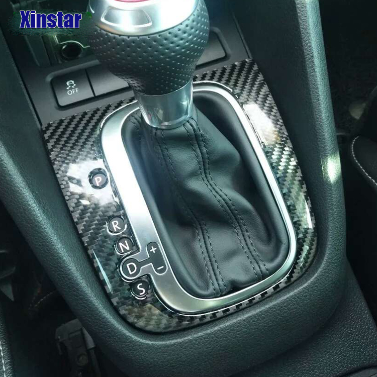 100 percent Carbon fiber Car gear shifter interior decoration sticke For volkswagen VW <font><b>Golf</b></font> <font><b>6</b></font> GTI R Scirocco Sagitar image
