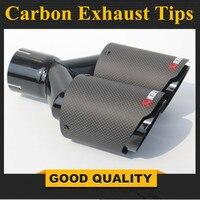 1PCS Dual AKRAPOVIC carbon fiber + Stainless Steel exhaust tip exhaust pipe muffler Matt Black Exhaust Tip