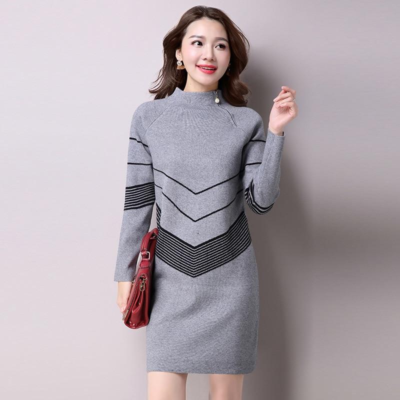 2018 Korean Fashion Women Autumn Winter Warm Knitted Sweater Dresses Half Turtleneck Long Sleeve Sexy Mini Knitwear
