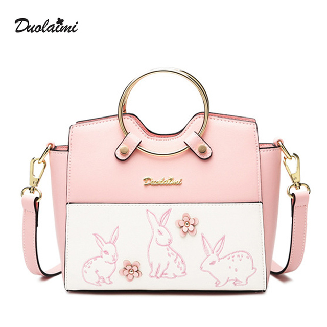 DouLaiMi New Women Shoulder Bag PU Leather Cartoon Messenger Bag Rabbit  Crossbody Bags Bunny Women Casual Tote Flower Embroidery 8ab5043088