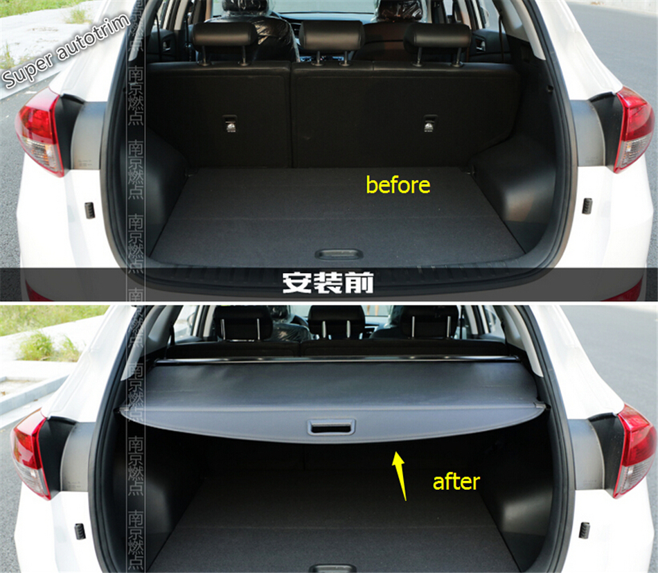 For Hyundai Tucson 2016 2017 2018 Retractable Trunk Shelf Shade Curtain Security Cargo Cover / Black ! modified car trunk cover material curtain separated block for great wall c20r
