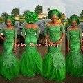 Abendkleider Estilo Nigeriano Verde Longo Vestidos Sereia Africano Aso Ebi Rendas Vestidos Formais 2017 Chegada Nova Custom Made