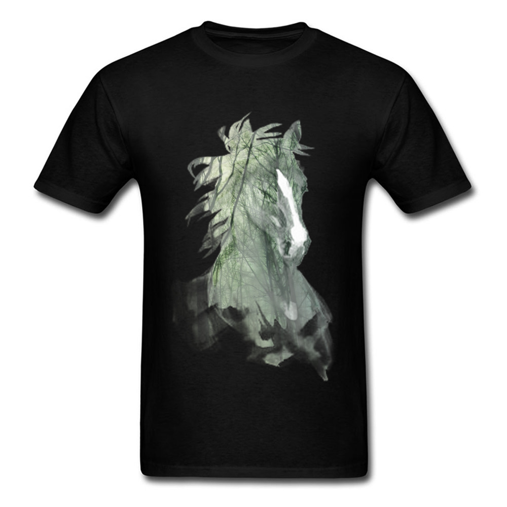 Men T Shirts Horse Forest Dark Mens Hip Hop Pop Trendy Tshirt Black White Combed Cotton O-Neck Tee Shirts For Men 2018