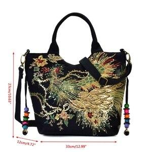 Image 4 - Bolso de mano étnico bordado para mujer, bandolera, bolso grande de hombro Vintage, de lona