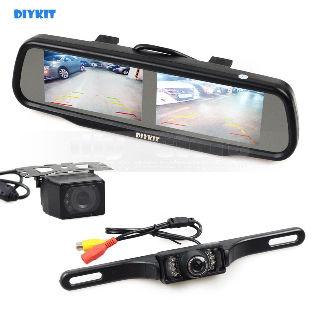 DIYKIT Dual 4.3 inch Screen Rearview Car Mirror Monitor + Waterproof IR Night Vision Car Rear View Reverse Backup Car Camera diykit ir night vision ccd rear view car camera white 7 inch hd tft lcd car monitor reverse rear view monitor screen