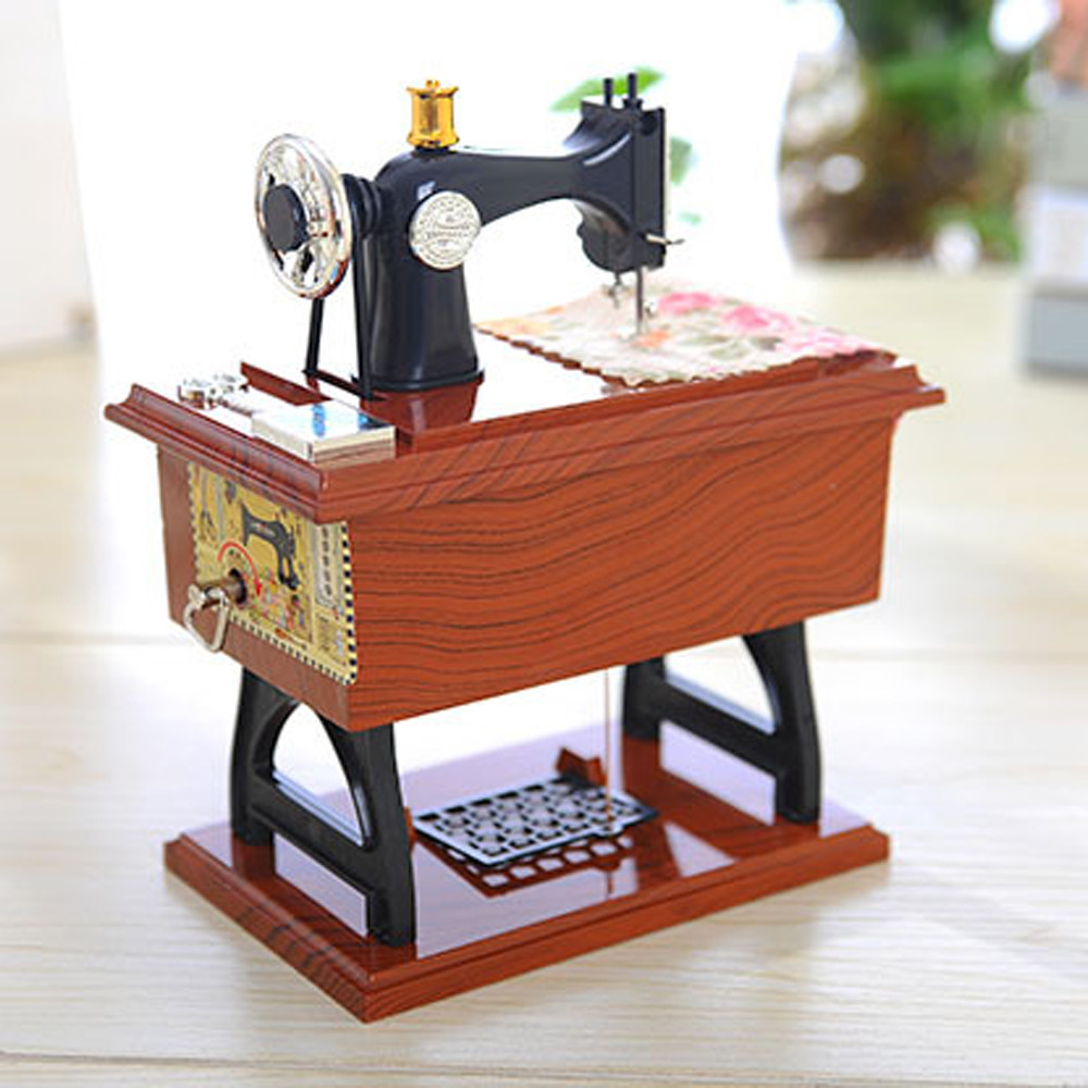 Vintage music box mini sewing machine style mechanical for House table decorations