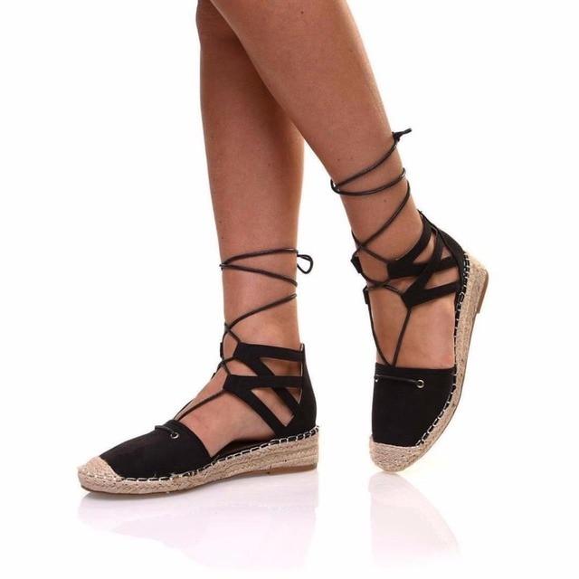 2750aa3b3c18 2017 Women Gladiator Lace Up Espadrilles Suede Hemp Flats Espadrille Black  Casual Shoes Ladies Summer Slipony Sandals Embroider