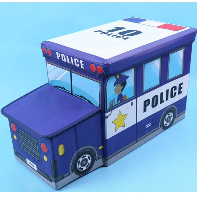 Cartoon Blue Toys Organizer Police Car Pattern Storage Box Folding Storage  Chair 43*26*28 CM Bearing 90KG Living Room Stool