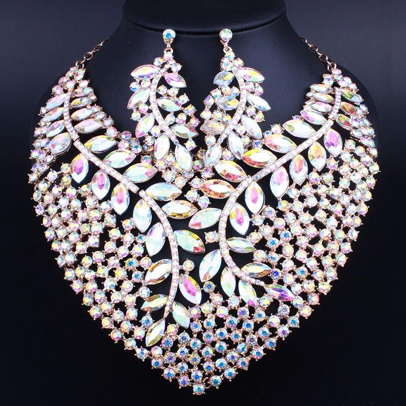Bridal Gift Nigerian Wedding African Beads Jewelry Set Fashion Dubai Crystal Jewelry Sets Costume Design Big Necklace bright dubai jewelry sets blue african costume jewelry sets indian beads necklace set christmas boutonniere bridal party gift